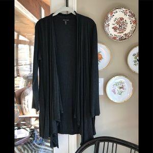 Eileen Fisher grey drape front cardigan.